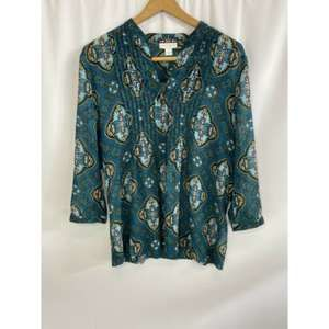 Charter Club Paisley Sheer Blouse Size Large